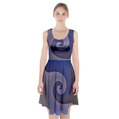 Logo Wave Design Abstract Racerback Midi Dress