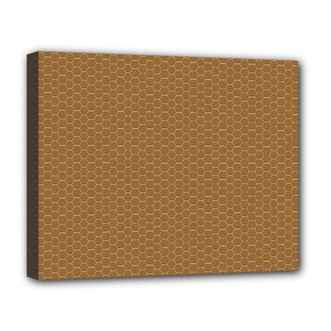 Pattern Honeycomb Pattern Brown Deluxe Canvas 20  X 16   by Simbadda
