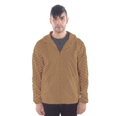 Pattern Honeycomb Pattern Brown Hooded Wind Breaker (men) by Simbadda