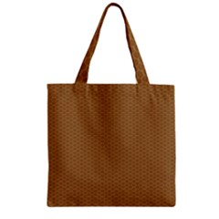 Pattern Honeycomb Pattern Brown Zipper Grocery Tote Bag by Simbadda