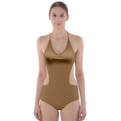 Pattern Honeycomb Pattern Brown Cut Out One Piece Swimsuit by Simbadda