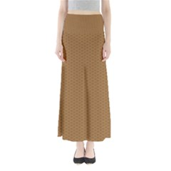 Pattern Honeycomb Pattern Brown Maxi Skirts by Simbadda