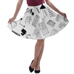 Furniture Black Decor Pattern A Line Skater Skirt by Simbadda