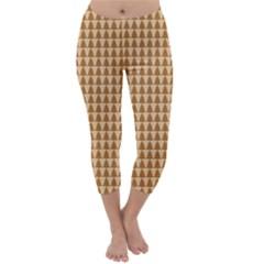 Pattern Gingerbread Brown Capri Winter Leggings  by Simbadda