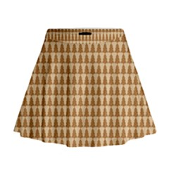 Pattern Gingerbread Brown Mini Flare Skirt by Simbadda