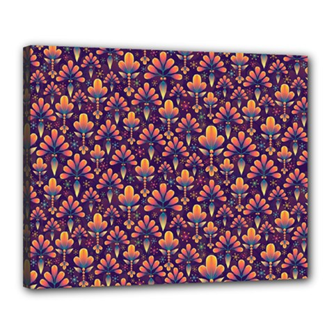Abstract Background Floral Pattern Canvas 20  X 16  by Simbadda