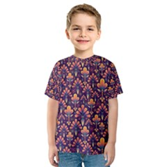 Abstract Background Floral Pattern Kids  Sport Mesh Tee