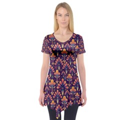 Abstract Background Floral Pattern Short Sleeve Tunic  by Simbadda