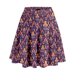 Abstract Background Floral Pattern High Waist Skirt by Simbadda