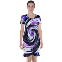 Canvas Acrylic Digital Design Short Sleeve Nightdress by Simbadda