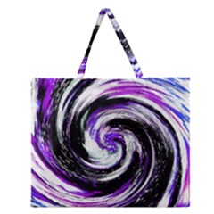 Canvas Acrylic Digital Design Zipper Large Tote Bag by Simbadda