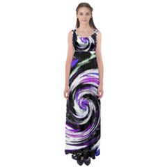 Canvas Acrylic Digital Design Empire Waist Maxi Dress by Simbadda