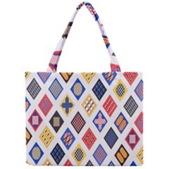 Plaid Triangle Sign Color Rainbow Mini Tote Bag by Alisyart