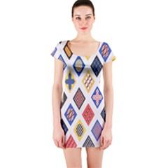 Plaid Triangle Sign Color Rainbow Short Sleeve Bodycon Dress by Alisyart