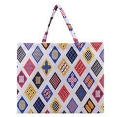 Plaid Triangle Sign Color Rainbow Zipper Large Tote Bag by Alisyart