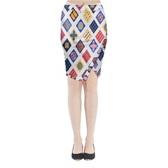 Plaid Triangle Sign Color Rainbow Midi Wrap Pencil Skirt by Alisyart