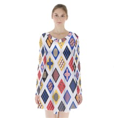 Plaid Triangle Sign Color Rainbow Long Sleeve Velvet V Neck Dress by Alisyart