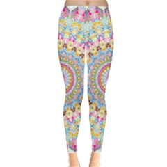 Kaleidoscope Star Love Flower Color Rainbow Leggings  by Alisyart