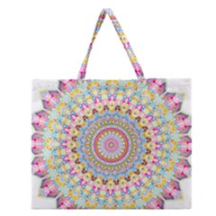 Kaleidoscope Star Love Flower Color Rainbow Zipper Large Tote Bag by Alisyart