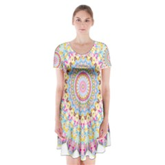 Kaleidoscope Star Love Flower Color Rainbow Short Sleeve V Neck Flare Dress by Alisyart