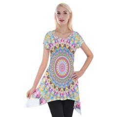 Kaleidoscope Star Love Flower Color Rainbow Short Sleeve Side Drop Tunic by Alisyart