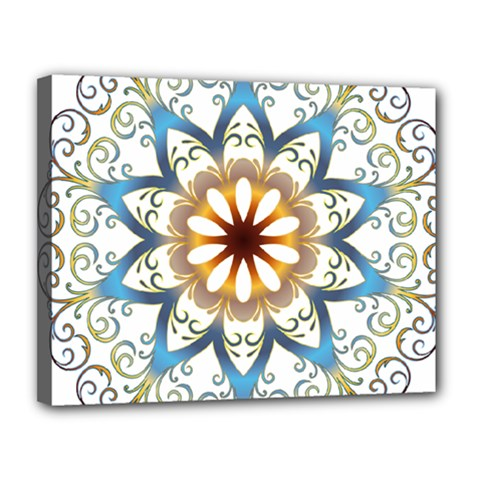 Prismatic Flower Floral Star Gold Green Purple Orange Canvas 14  X 11  by Alisyart