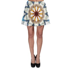 Prismatic Flower Floral Star Gold Green Purple Orange Skater Skirt by Alisyart
