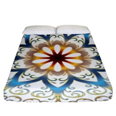 Prismatic Flower Floral Star Gold Green Purple Orange Fitted Sheet (king Size) by Alisyart