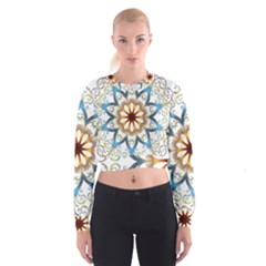 Prismatic Flower Floral Star Gold Green Purple Orange Women s Cropped Sweatshirt by Alisyart