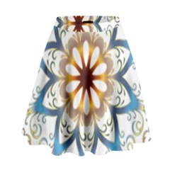 Prismatic Flower Floral Star Gold Green Purple Orange High Waist Skirt by Alisyart