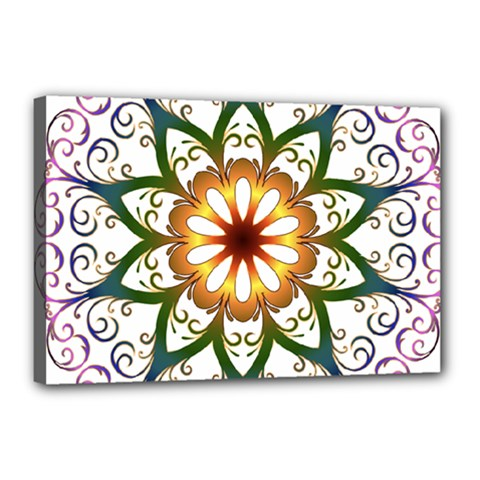 Prismatic Flower Floral Star Gold Green Purple Canvas 18  X 12  by Alisyart