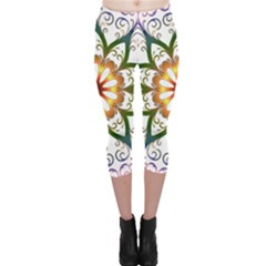 Prismatic Flower Floral Star Gold Green Purple Capri Leggings  by Alisyart
