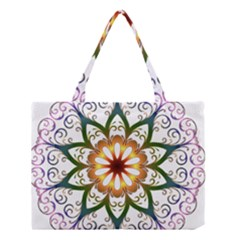Prismatic Flower Floral Star Gold Green Purple Medium Tote Bag by Alisyart