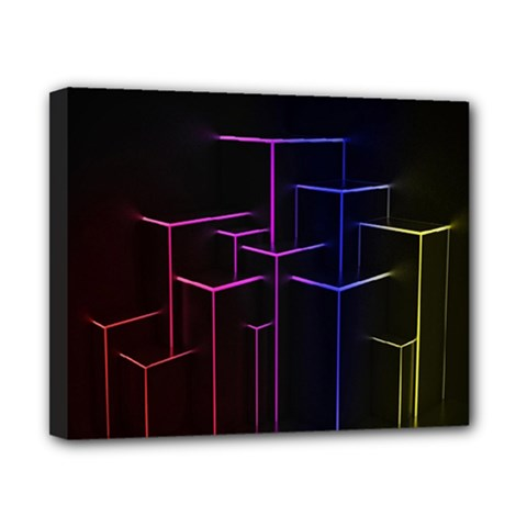 Space Light Lines Shapes Neon Green Purple Pink Canvas 10  X 8  by Alisyart