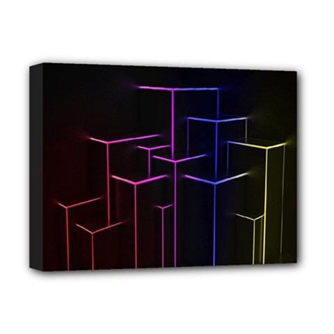 Space Light Lines Shapes Neon Green Purple Pink Deluxe Canvas 16  X 12   by Alisyart