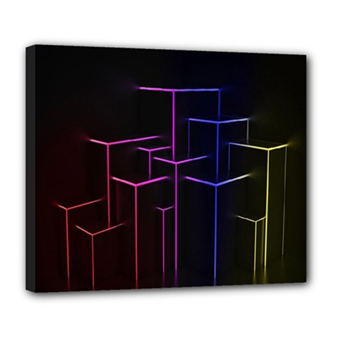 Space Light Lines Shapes Neon Green Purple Pink Deluxe Canvas 24  X 20   by Alisyart