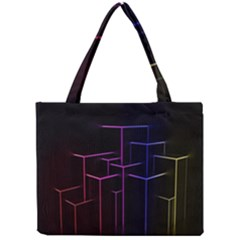 Space Light Lines Shapes Neon Green Purple Pink Mini Tote Bag by Alisyart
