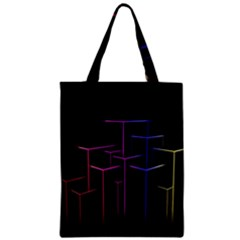 Space Light Lines Shapes Neon Green Purple Pink Zipper Classic Tote Bag by Alisyart