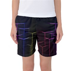 Space Light Lines Shapes Neon Green Purple Pink Women s Basketball Shorts by Alisyart