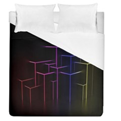Space Light Lines Shapes Neon Green Purple Pink Duvet Cover (queen Size) by Alisyart