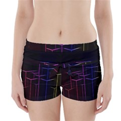Space Light Lines Shapes Neon Green Purple Pink Boyleg Bikini Wrap Bottoms
