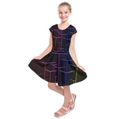 Space Light Lines Shapes Neon Green Purple Pink Kids  Short Sleeve Dress by Alisyart