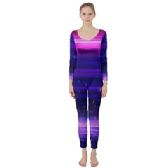 Space Planet Pink Blue Purple Long Sleeve Catsuit by Alisyart