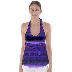 Space Planet Pink Blue Purple Babydoll Tankini Top by Alisyart