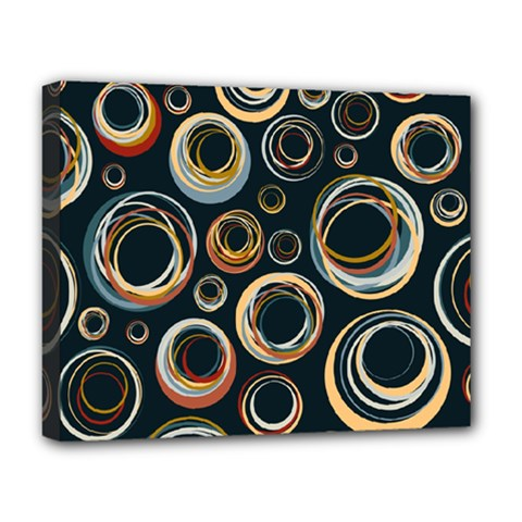 Seamless Cubes Texture Circle Black Orange Red Color Rainbow Deluxe Canvas 20  X 16   by Alisyart