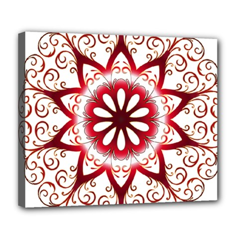 Prismatic Flower Floral Star Gold Red Orange Deluxe Canvas 24  X 20   by Alisyart