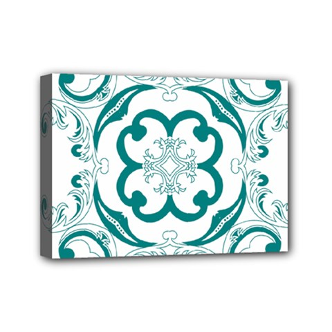 Vintage Floral Star Flower Blue Mini Canvas 7  X 5  by Alisyart
