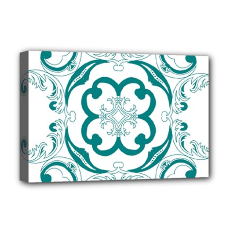 Vintage Floral Star Flower Blue Deluxe Canvas 18  X 12   by Alisyart