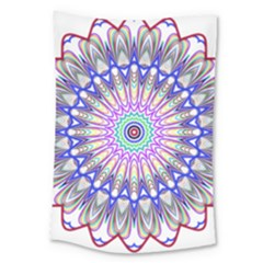 Prismatic Line Star Flower Rainbow Large Tapestry by Alisyart