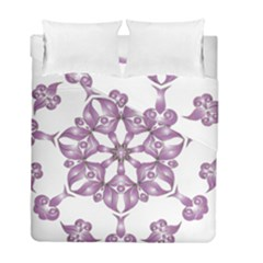 Frame Flower Star Purple Duvet Cover Double Side (full/ Double Size) by Alisyart